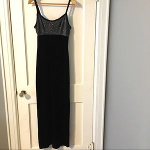 Vintage 80s 90s Strappy Velour Sequin Gown Dress